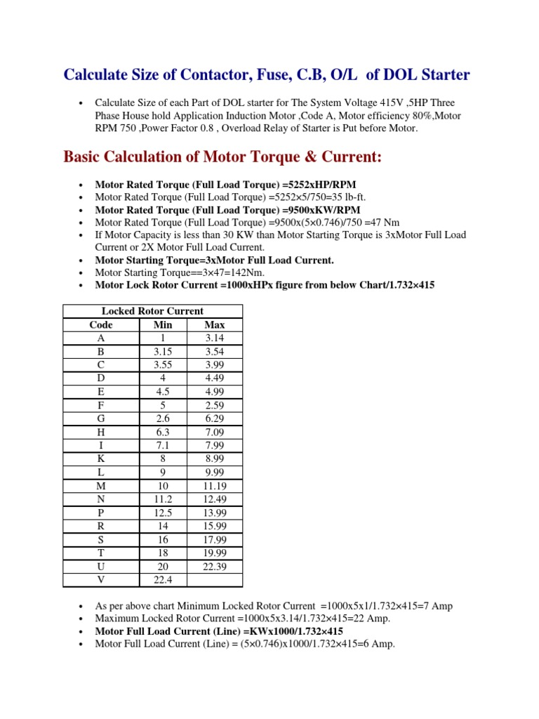 Calculate Size of Contactor CB FUSE OLR | Fuse (Electrical
