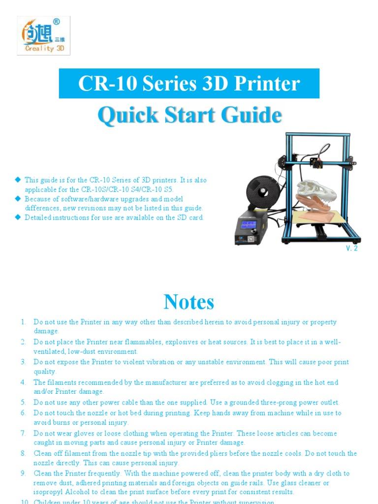 201801 CR-10 Series User Manual | 3 D Printing | Technologie