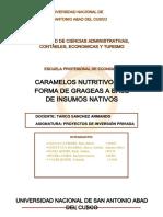 Grageas Nutritivas a Base de Frutos Andinos- Estudio Tecnico