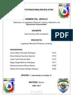 """Aplicación a la Legislación Mercantil, Laboral y Aduanera a las Operaciones Empresariales """"Usulutan"""""""