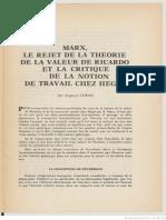 Cornu, Marx, le rejet de la théorie de valeur de Ricardo et la critique de la notion de travail chez Hegel