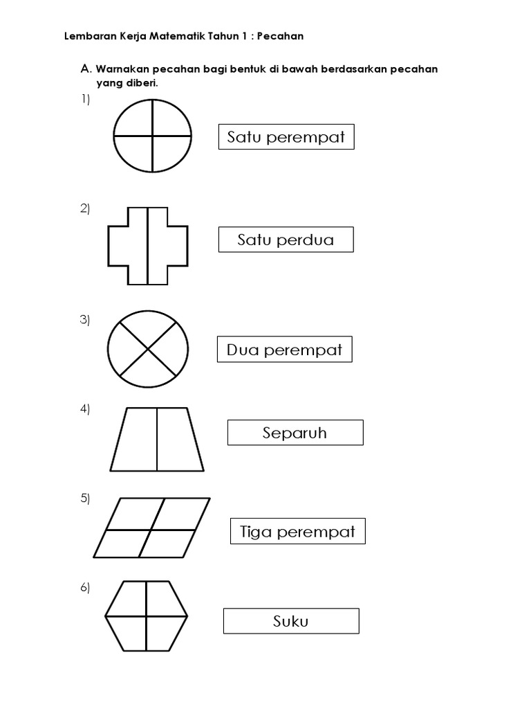 Lembaran Kerja Matematik Tahun 1 Pecahan Docx