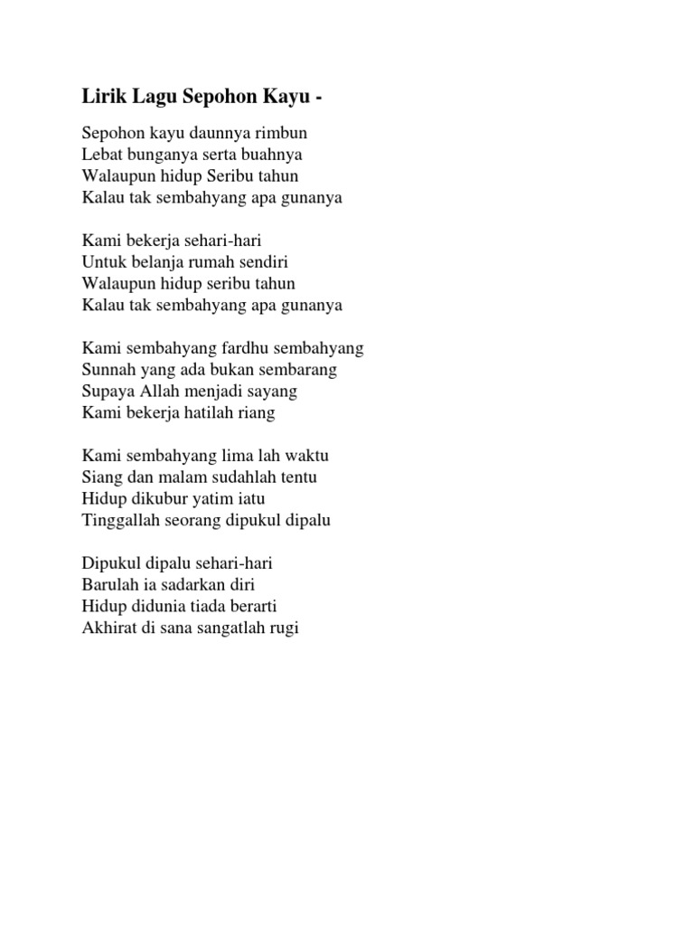 Saujana sepohon kayu   karaoke   tanpa vokal   minus one   lirik.