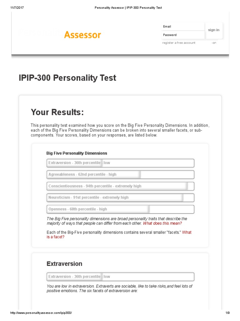 Personality Assessor _ IPIP-300 Personality Test   Extraversion And