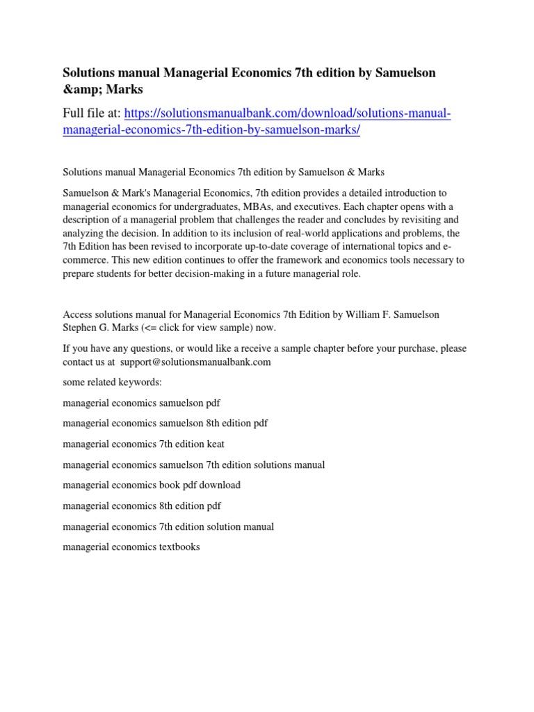 Solutions manual Managerial Economics 7th edition by Samuelson & Marks  | Donald Trump | Gobierno de los Estados Unidos