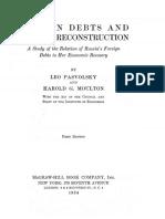 PASVOLSKY-MOULTON 1924 - Russian Debts and Russian Reconstruction