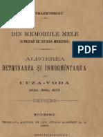 Anu - Din Memoriile Mele (O Pagin de Istori Modern) - Alegerea Detronarea i Nmormntarea Lui Cuza-Vod 1859 1866 1873