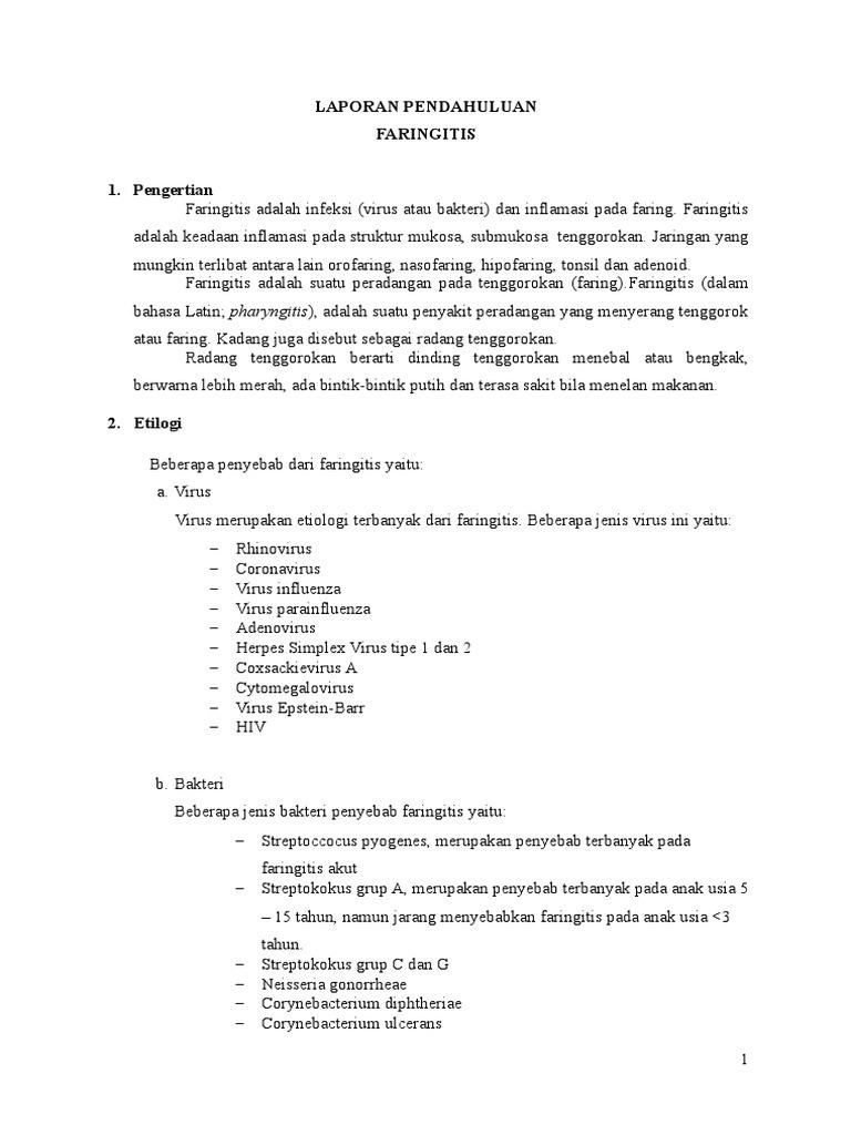 258373196 Laporan Pendahuluan Dan Askep Faringitis Doc