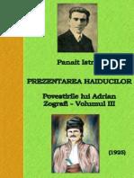 Panait Istrati - Povestirile Lui Adrian Zografi - Volumul 3 - Prezentarea Haiducilor 1925