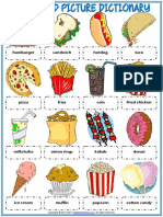 Fast Food Vocabulary Esl Picture Dictionary Worksheet for Kids