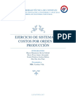 Ejercicio de Sistemas de Costos Por Produccion