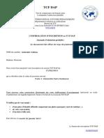Confirmation Inscription TCF DAP
