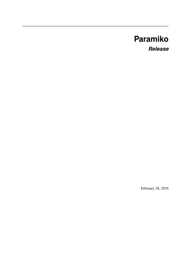 Paramiko Docs | Secure Shell | Network Socket