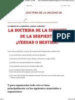 Estudio de La Doctrina de La Unicidad de Dios_ La Simiente de La Serpiente_ ¿Verdad o Mentira