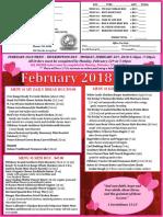 February Menu 2018