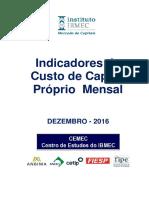 Indicadores Cemec Custo Capital Proprio Mensal Metodos-1-E-2-Dezembro-2016