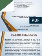 LEY DEL EJERCICIO DE LA INGENIERÍA Y ARQUITECTURA.
