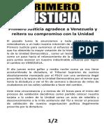Primero Justicia Agradece a Venezuela y reitera su compromiso con la Unidad