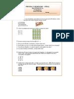 3° Básico Matemáticas Prueba Final 2° Semestre