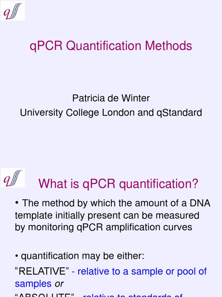 Methods for Quantification of QPCR Data   Real Time Polymerase Chain ...