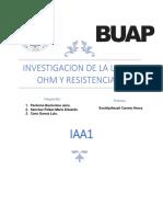 Investigacion de La Ley de Ohm y Resistencias