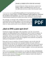 Cómo Configurar La Dirección DNS de Google