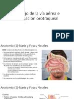 Manejo de La Vía Aérea e Intubación Orotraqueal 1