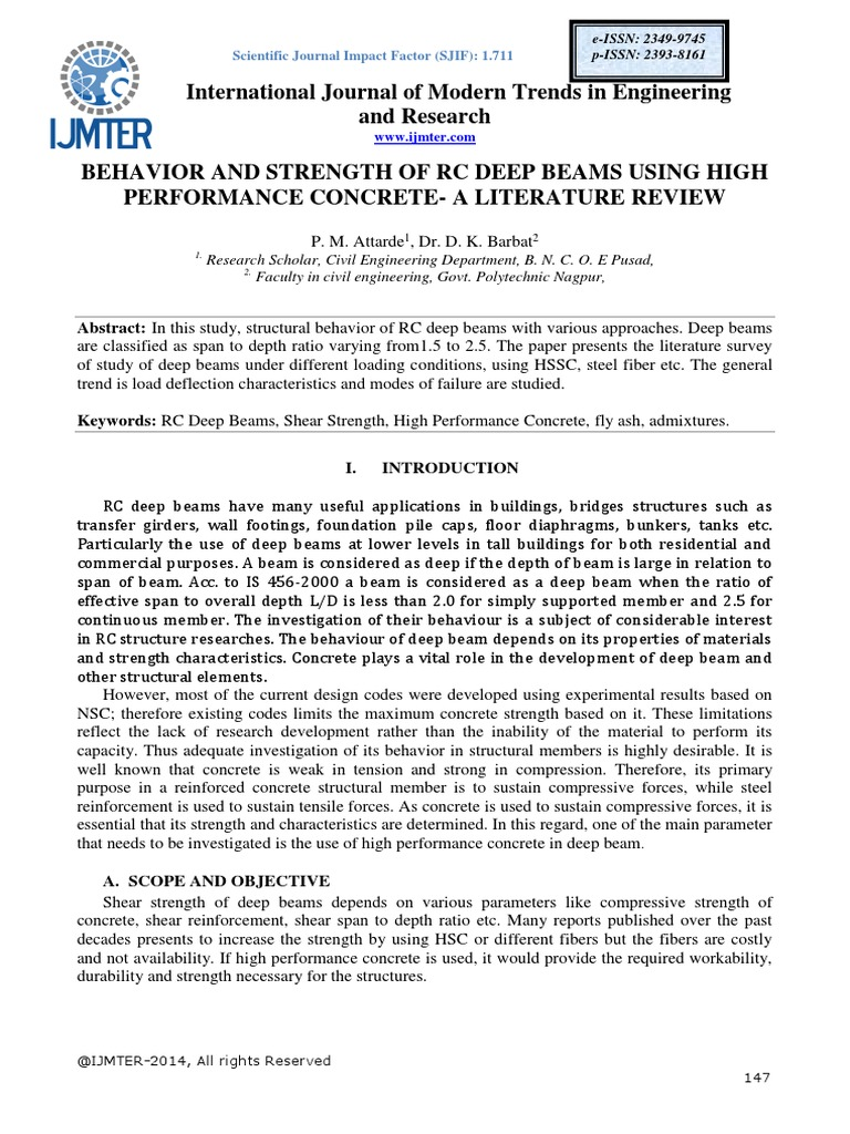 Behavior and Strength of Rc Deep Beams Using High