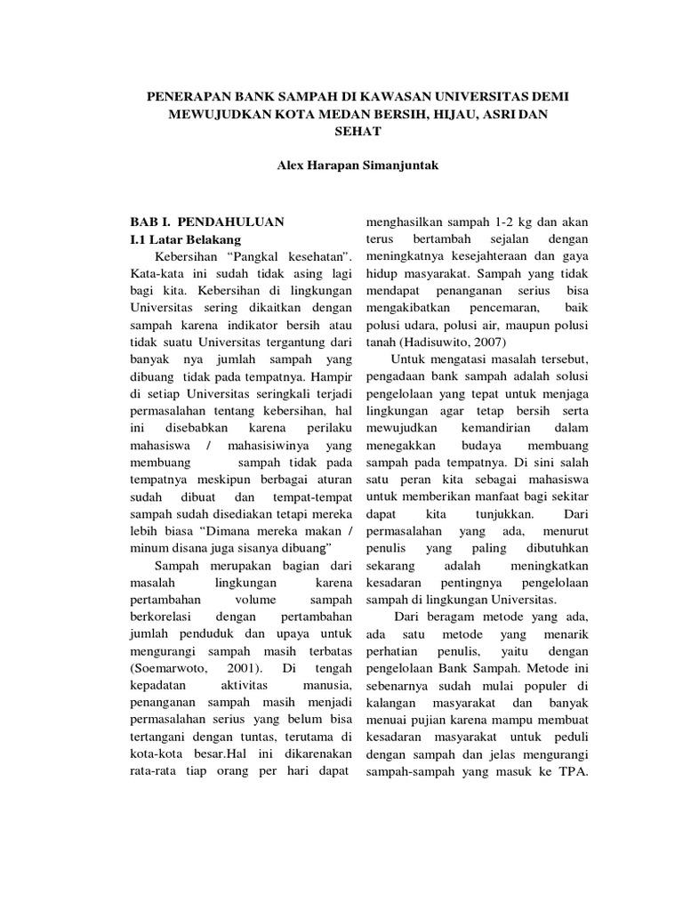 Contoh Makalah Karya Tulis Ilmiah Penerapan Bank Sampah Di Kawasan Universitas