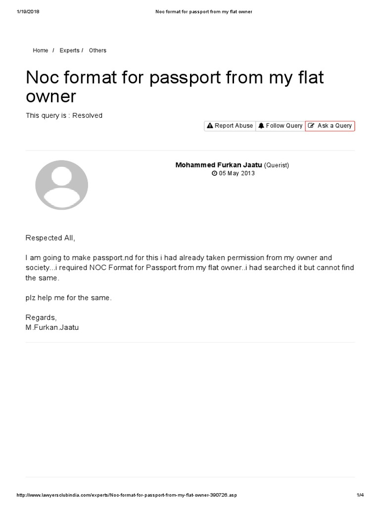 Passport of noc letter format for society noc certificate format noc format for passport from my flat owner passport common law spiritdancerdesigns Choice Image