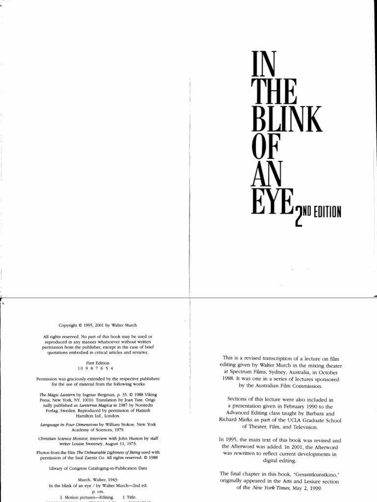 in the blink of an eye book walter murch