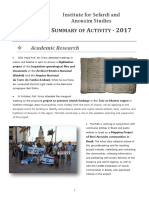 Summary of Activities, 2017 -- The Institute for Sefardi and Anousim Studies
