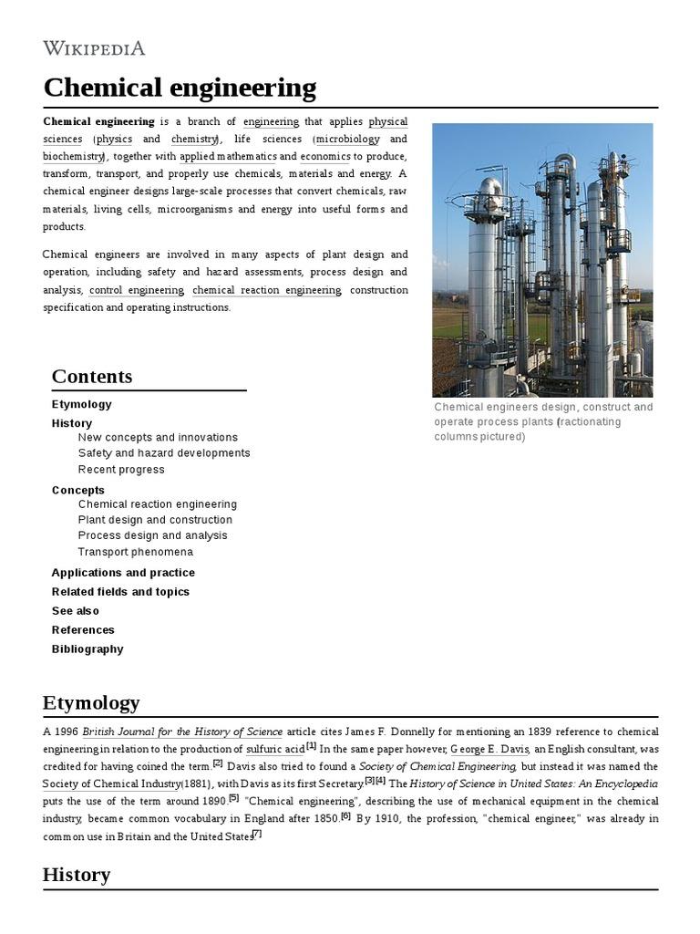 Chemical Engineering Chemical Engineering Chemistry