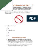 Negative Prefix List