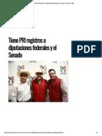 28-01-18 Tiene PRI Registros a Diputaciones Federales y El Senado - Hora Cero Web