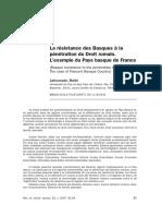 LA RÉSISTANCE DES BASQUES À LA PÉNÉTRATION DU DROIT ROMAIN. L´EXEMPLE DU PAYS BASQUE DE FRANCE