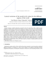 Bayrak - Lateral Variation of the Modal a b Values for the Different Regions of the World