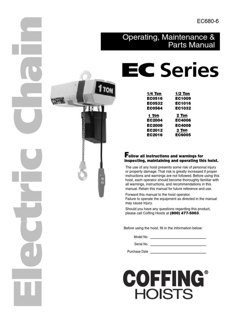 Coffing Ec1 Manual Elevator Electrical Wiring Diagram
