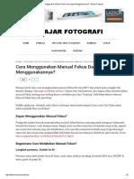 Cara Menggunakan Manual Fokus Dan Kapan Menggunakannya_ - Belajar Fotografi