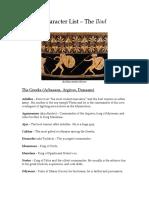Iliad Character List