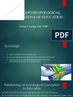 Socio-Anthropological Foundations of Education