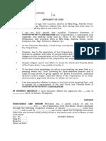 Affidavit of Loss - Stb