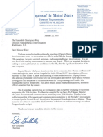 House Judiciary Chairman Goodlatte Letter To Ueging FBI Director Wray To Preserve Outgoing McCabe Communications 1-29-2018