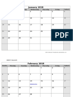 2018 Monthly Us Holidays Calendar
