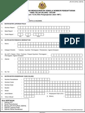 Jpjk13 Permohonan Menggunakan Semula Nombor Pendaftaran Yang