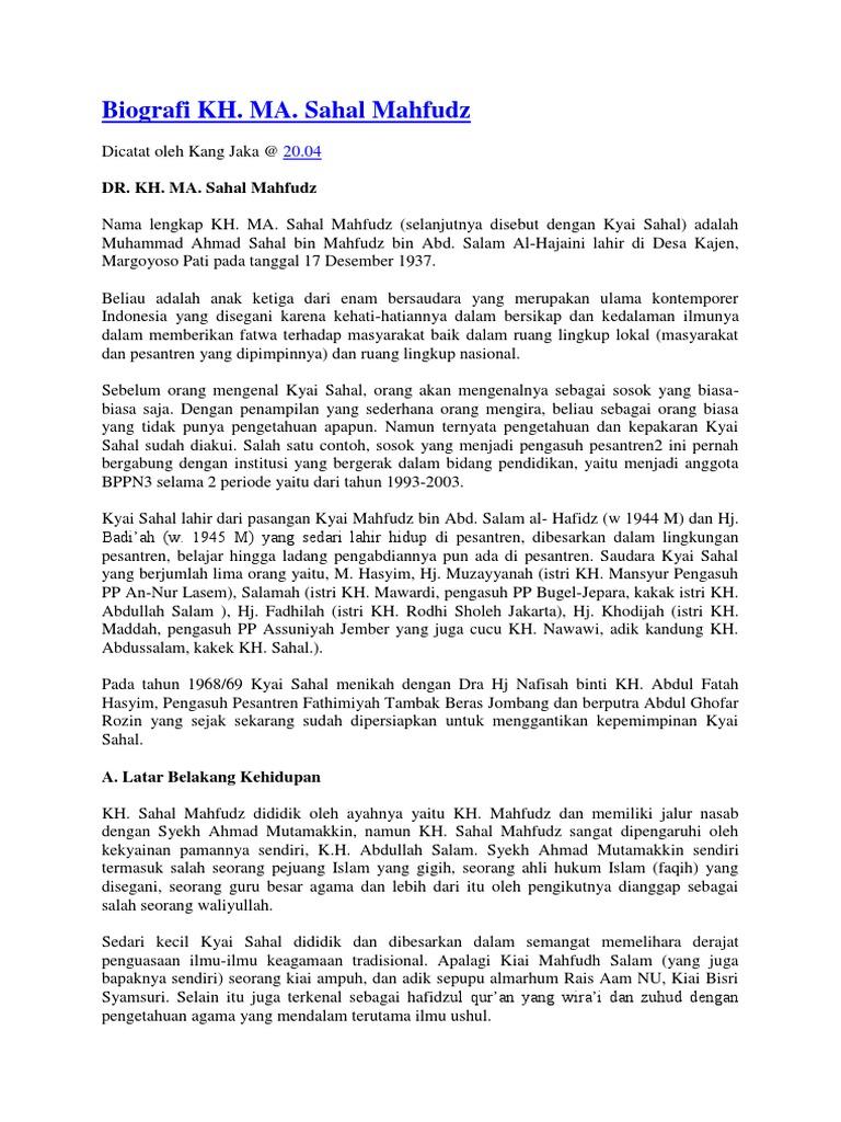 Biografi Kh Sahal