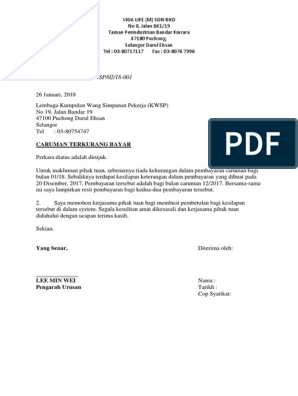 Letter To Kwsp
