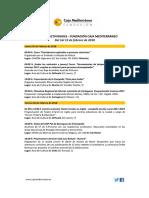 Agenda Actividades Destacadas.  Del 1 al 15 de febrero de 2018. Fundación Caja Mediterráneo