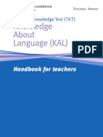 Teaching Knowledge Test Knowledge About Language Handbook for teachers