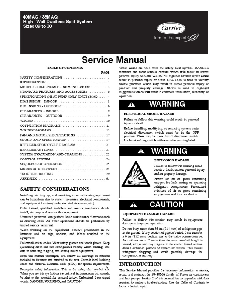 Sevice Manual Carrier 38 40maq 01sm Electrical Wiring Hvac Split System Heat Pump Diagram